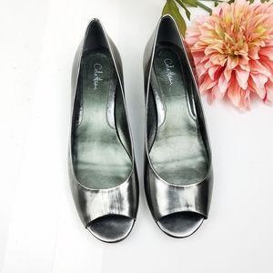 Cole Haan peep-toe pewter Nike Air wedge size 10B
